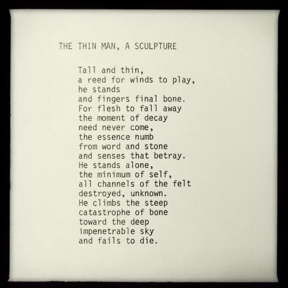 THE THIN MAN, A SCULPTURE | poem by George Murray