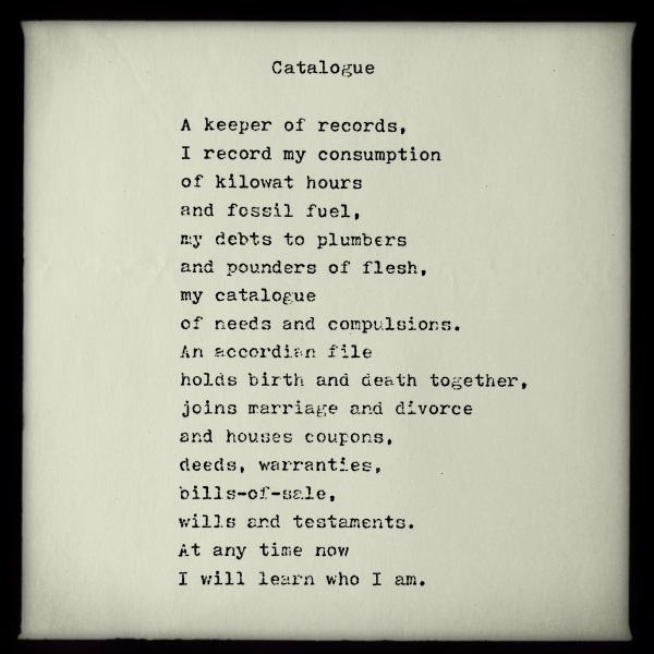 CATALOGUE - poem by George Murray