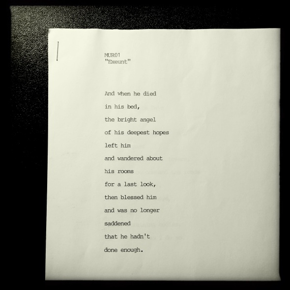 Exeunt-typed-page - poem by George Murray